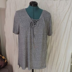 a.n.a Marled Grey Gray Lace Up Short Sleeve Tee